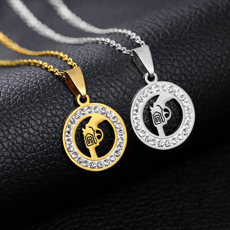 时尚手枪吊坠项链不锈钢圆形水晶最好的朋友永远的女孩纪念品礼物