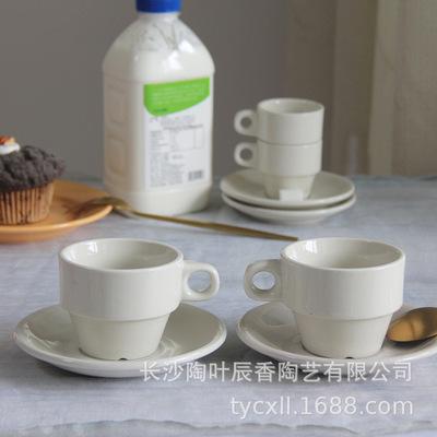 欧式陶瓷咖啡杯简约便携式奶白色拉花杯马克杯酒店餐厅叠放通用杯