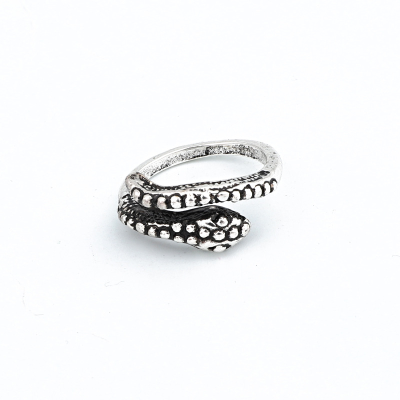 New fashion ancient silver snake ring retro cobra ring open ring wholesale NHGO204381