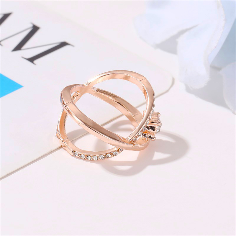 New simple index finger cross ring female fashion wild diamond ring NHDP202816