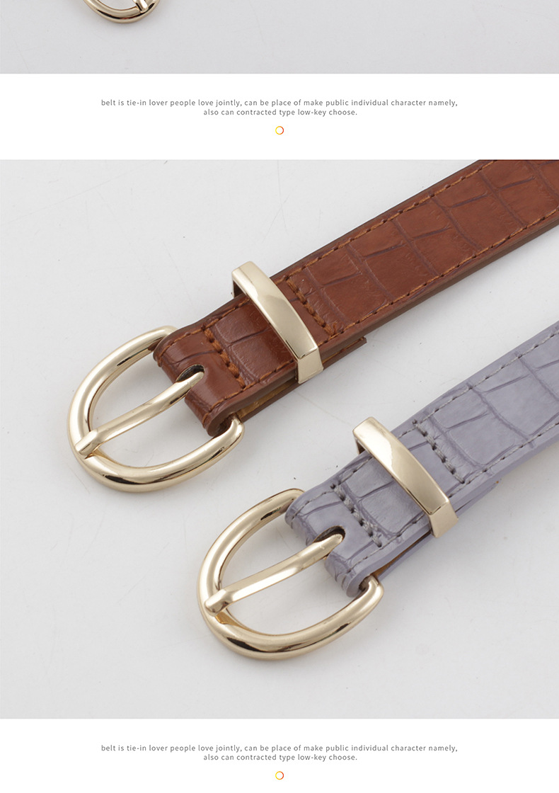 Korean new crocodile pattern gold buckle belt ladies decorative pin buckle wild jeans thin belt NHPO202145