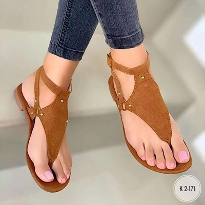 Flat bottom clip toe beach buckle sandals female sandals