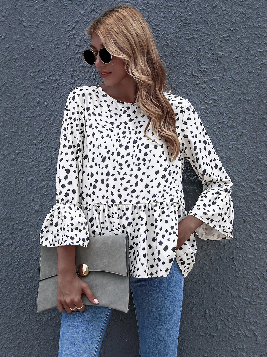 hot sale autumn black dot printing round neck blouse loose ruffled  NSAL1909