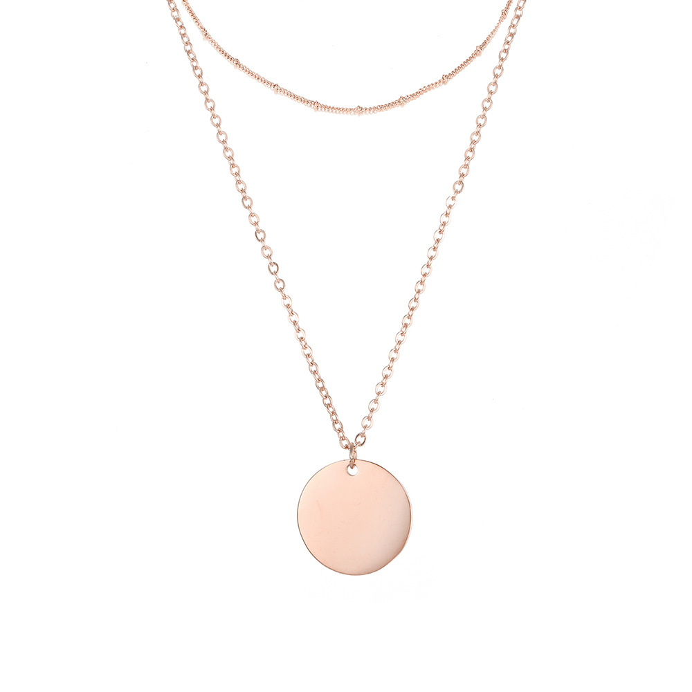 ornaments geometric round brand necklace L316 stainless steel two-piece necklace clavicle chain hot wholesale nihaojewelry NHJJ221056