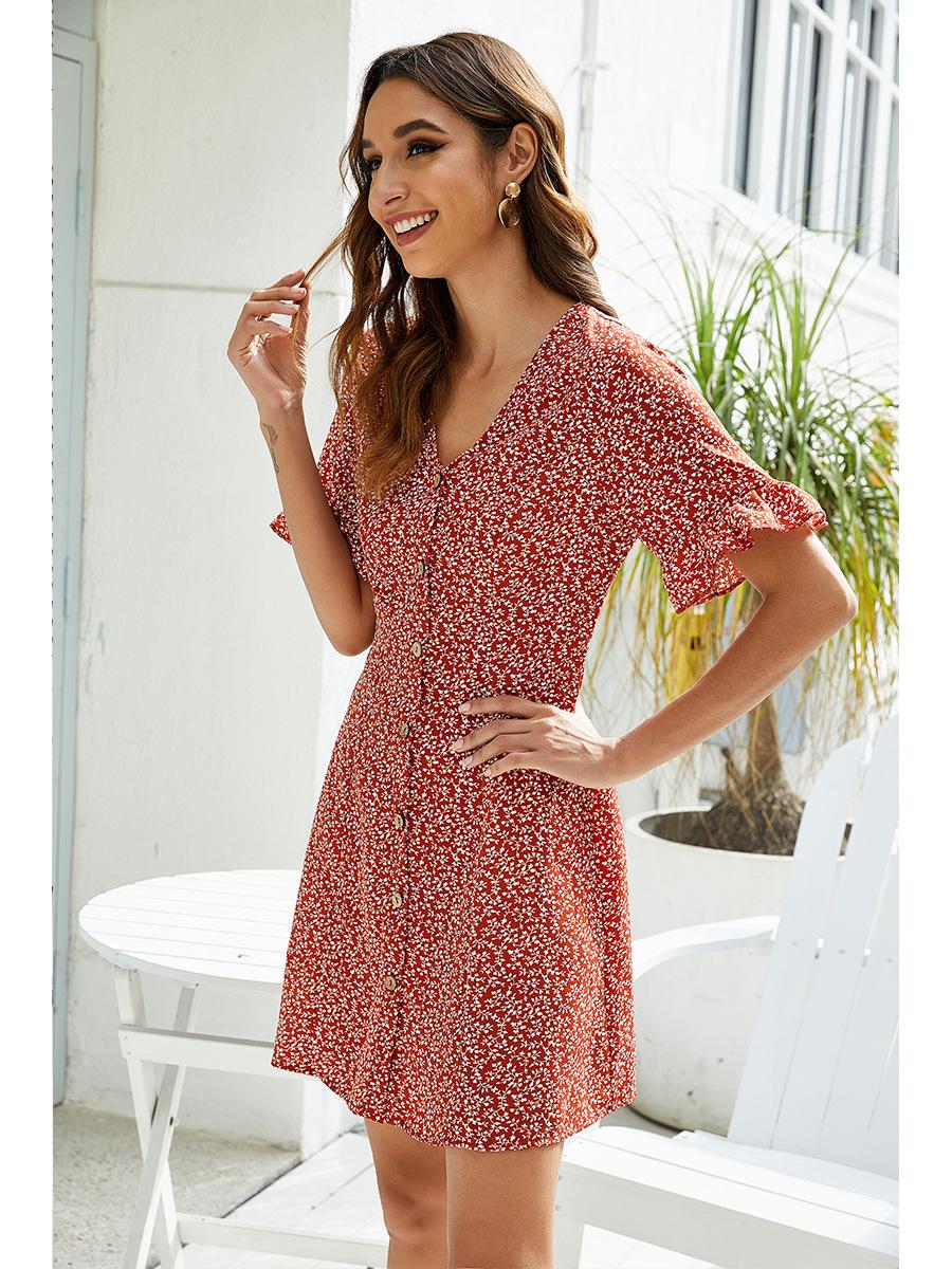printed floral V-neck fashion casual dress NSAL2103