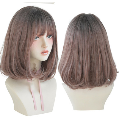 Bob Hair Wigs Perruques Bob Hair Pelucas De Cabello Bob Wig female dye gradient wig air bangs Bobo head short hair