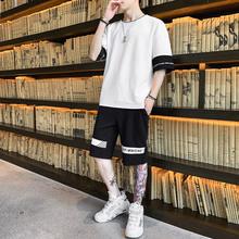 2020夏季套装新潮时尚男士短裤运动休闲裤男套装男式短t恤半袖男