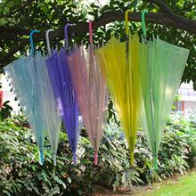 创意PVC透明雨伞定制logo一次性环保伞批发8骨彩色直杆手柄长雨伞