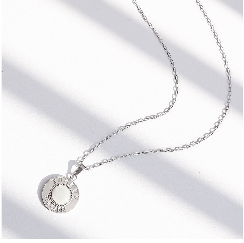 retro simple shell letter English medal necklace NHOK271168