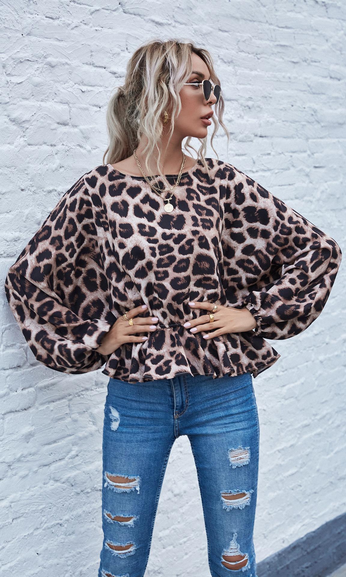 women's autumn and winter trends new leopard print bat shirt long-sleeved shirt NSYD3747