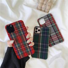 英伦格子适用12Pro/Max苹果X/XS/XR手机壳iPhone7/8plus绒布情侣