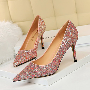 Europe and the United States, 372-1 high heels for women's shoes heel with shallow mouth pointed sexy nightclub show thi