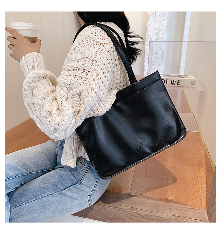 Korean casual largecapacity picture solid color trend womens new shoulder tote bag NHJZ247841