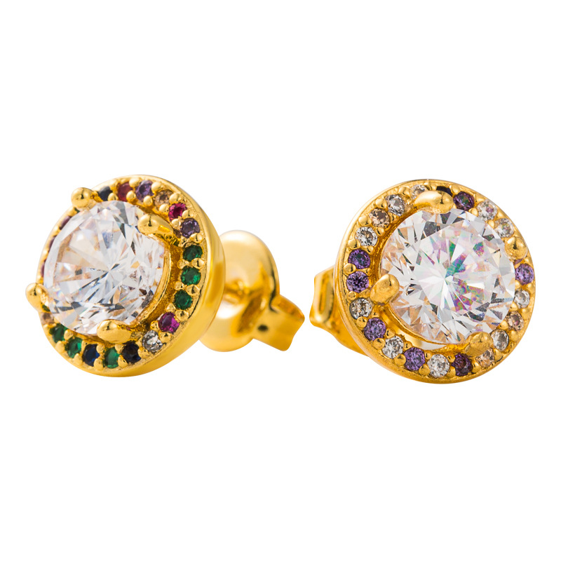 explosion gold round earrings copper gold-plated micro-color inlaid zircon earrings fashion super flash earrings  wholesale nihaojewelry NHLN221612