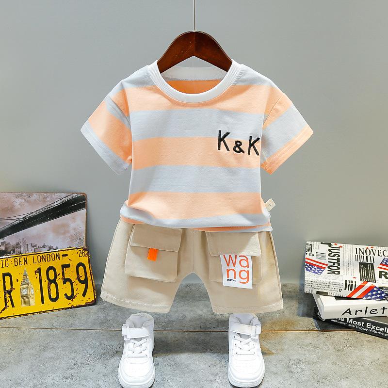 2020 النسخة الكورية من مخطط الفتيان والفتيات الصيف KK جديدة 0-5 سنوات من العمر الأطفال الرضع اثنين من قطعة بدلة الأطفال المد
