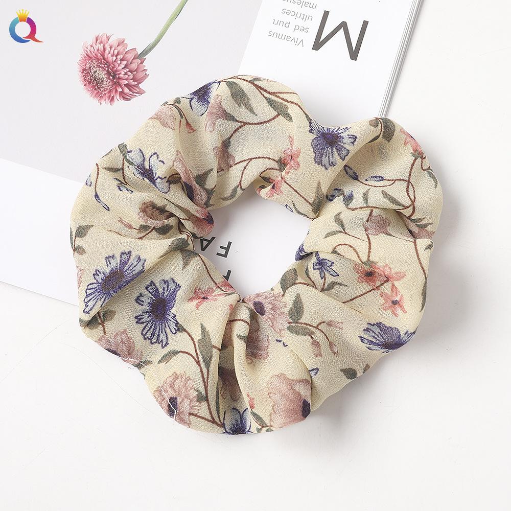 New fashion printed chiffon hair ring fabric cheap sweet hair ring wholesale NHDM205050