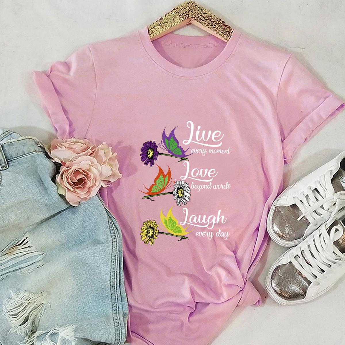 sunflower daisy butterfly pure cotton short-sleeved t-shirt NSSN3037
