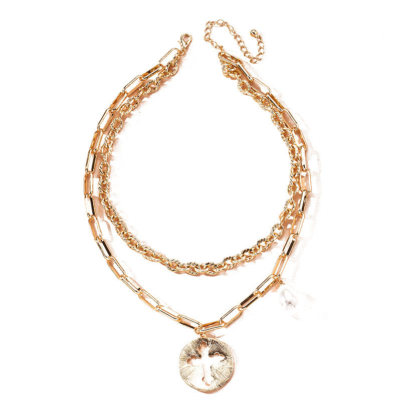 Fashion simple exaggerated thick chain retro multilayer pearl cross necklace for women wholesale NHAI241758