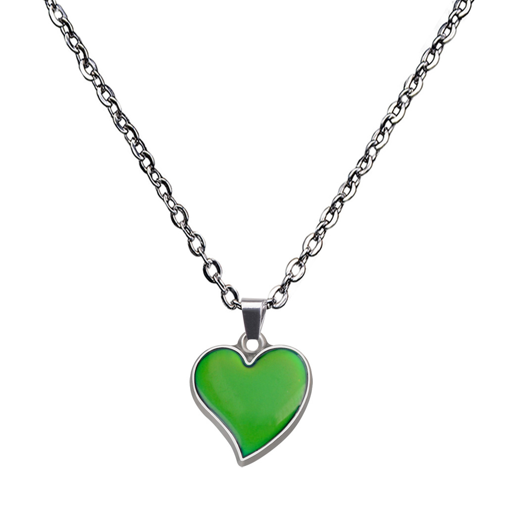 mood color changing peach heart stainless steel necklace NHBI307013