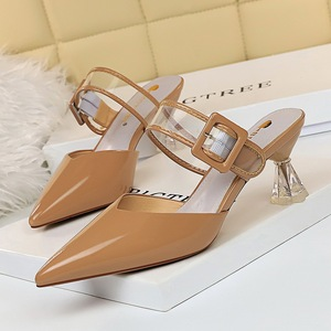 906-6 han edition paint shallow pointed mouth transparent crystal high-heeled belt buckle daily female slippers hollow o