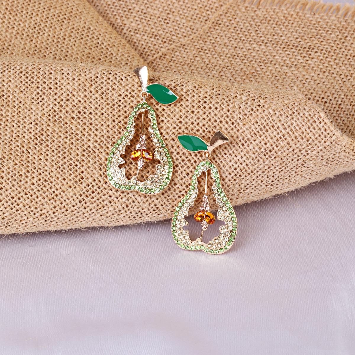 new fashion alloy full diamond fruit pear earrings for women hot-saling wholesale NHJJ258309