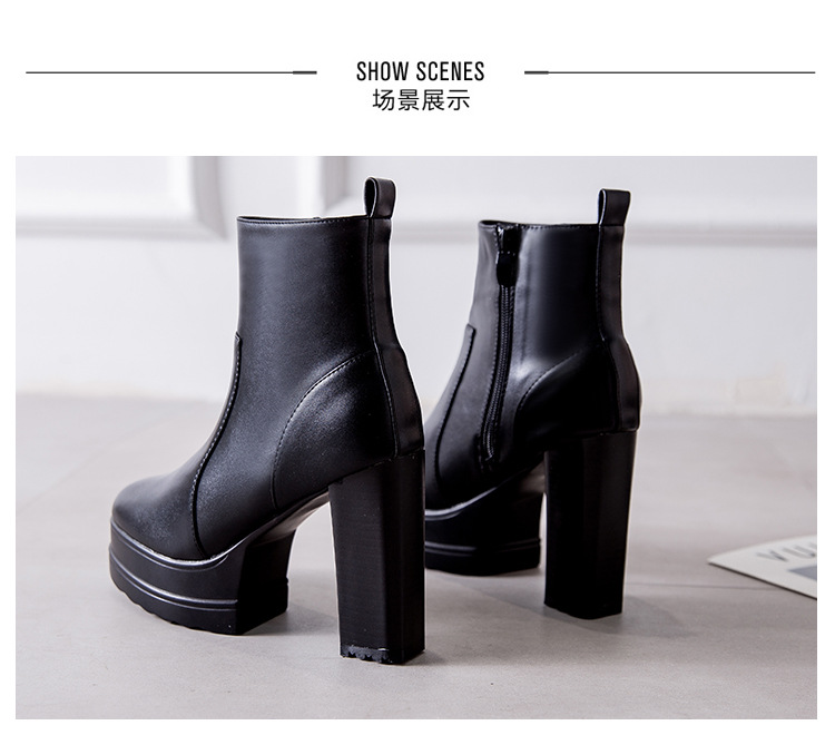 Fashion new women's high-heeled thick-heeled short boots thin and thick-soled waterproof platform Martin boots  NHSO241427