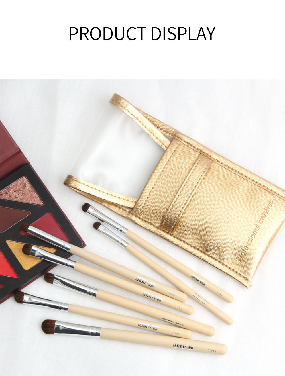 7 pieces horsehair eye shadow brush set with brush bag professional makeup brush beauty tools  wholesale nihaojewelry NHDJ218523