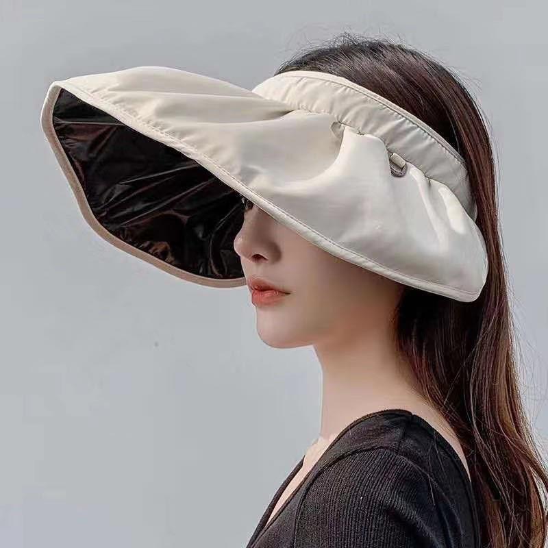 韩国贝壳帽女夏空顶防晒网红可折叠遮脸发箍式太阳帽防紫外线亲子