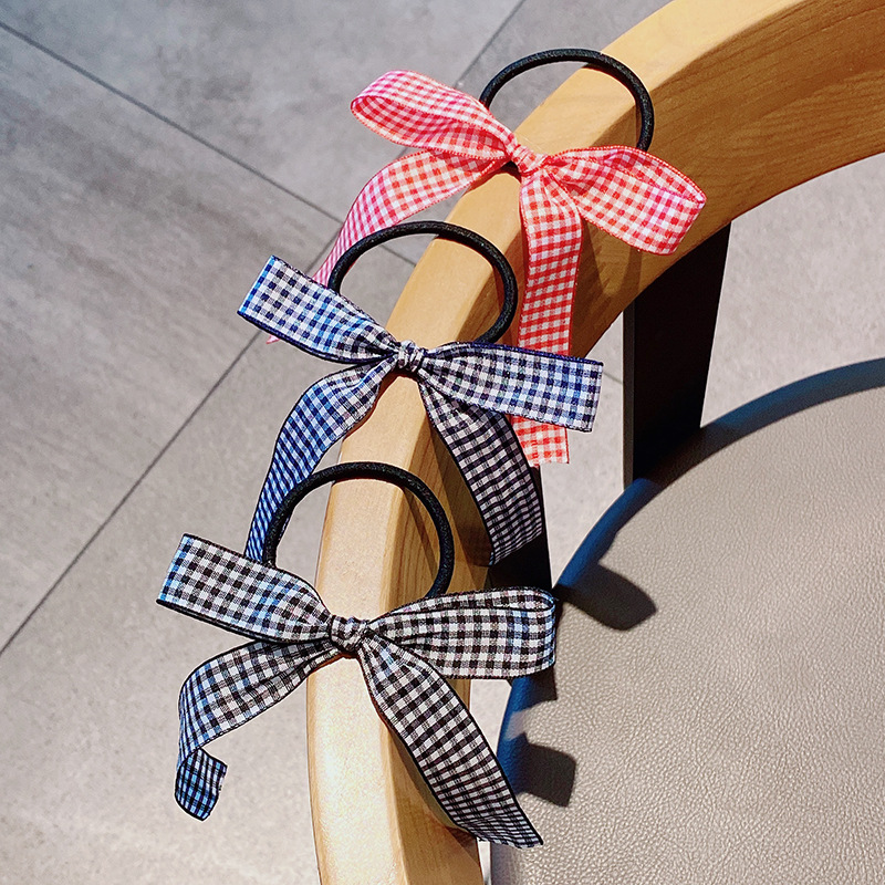 fashion new simple cute lattice small bow hair rope hair accessories  nihaojewelry wholesale   NHNA235847