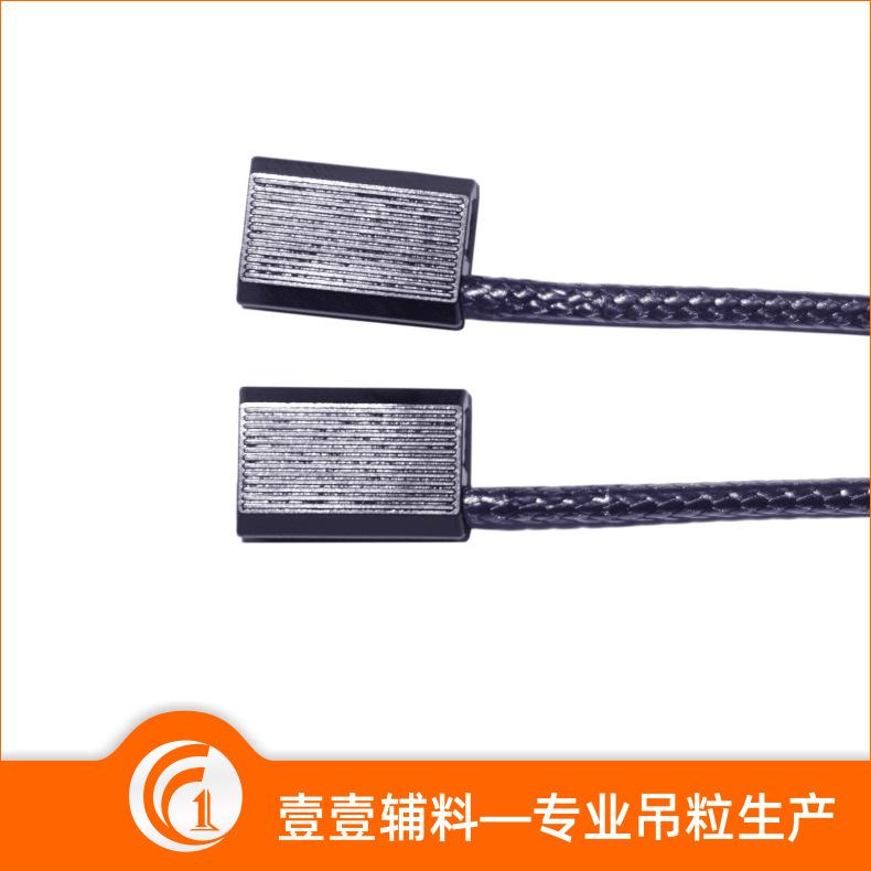 韩国蜡绳一次成型吊粒 单头条纹线扣通用方块吊牌绳 现货工厂直销