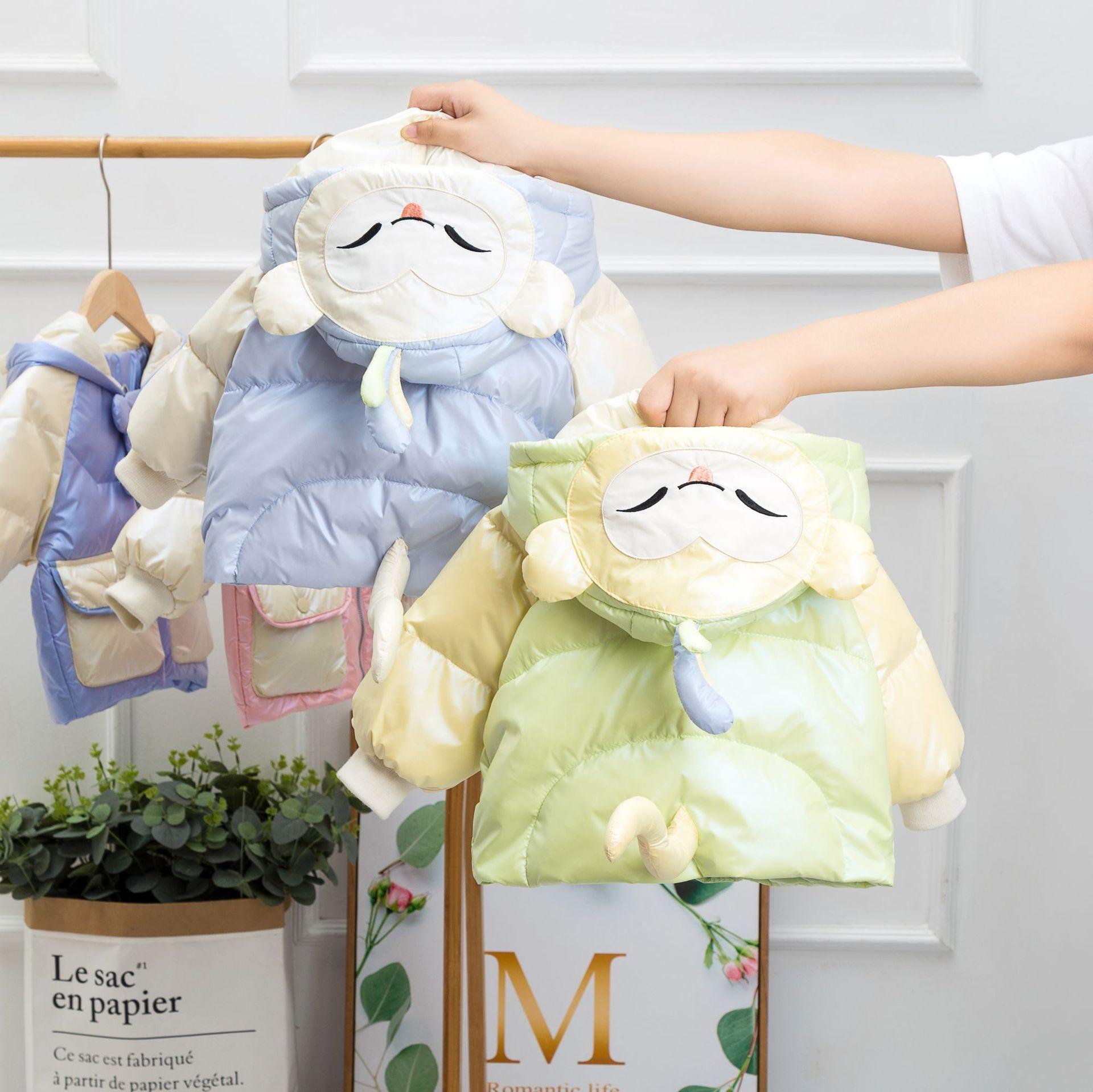 冬季新款免洗儿童羽绒服男童女童中小童宝宝加厚猴子外套一件代发