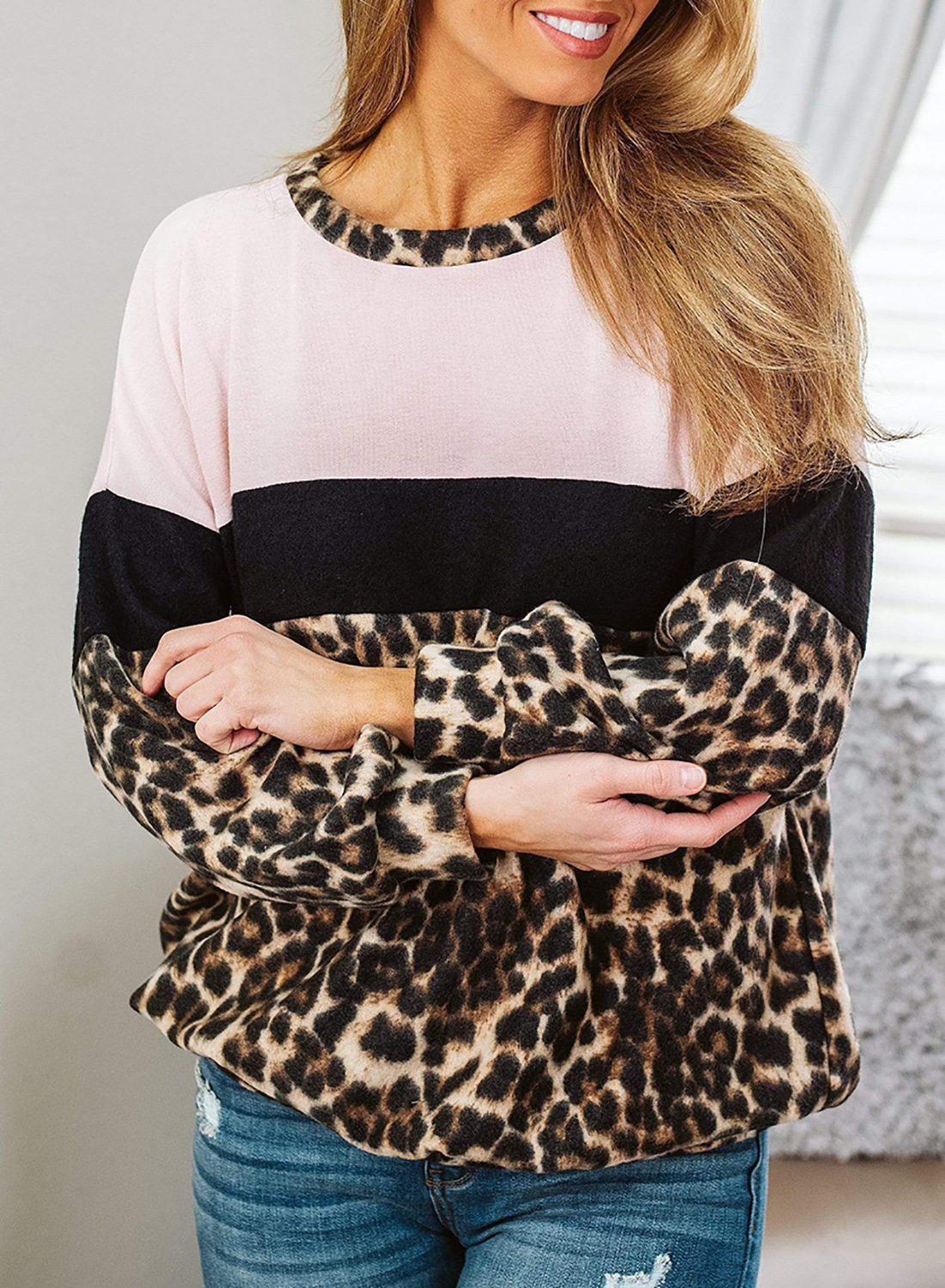 women autumn new leopard print stitching casual long-sleeved round neck pullover sweater  NSSI2733