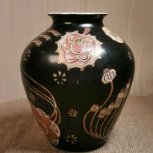 黑釉粉彩描金陶瓷花瓶 冬瓜瓶 赏瓶 家居客厅花插复古摆饰摆件