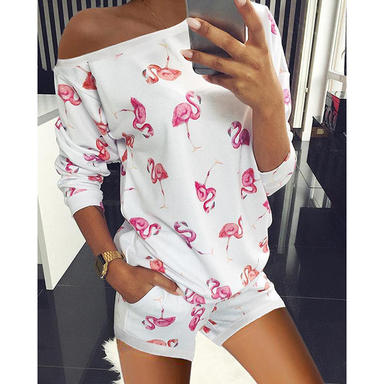 hot style women's summer loose printing home wear casual suit NSKX6066