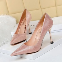 17189-1 han edition sexy high-heeled shallow pointed mouth shining sequins cloth fine with high heels for women's shoes wedding shoes list