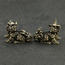 纯铜瑞兽摆件复古黄铜麒麟独角兽一对狮子居家办公桌面小摆件批发