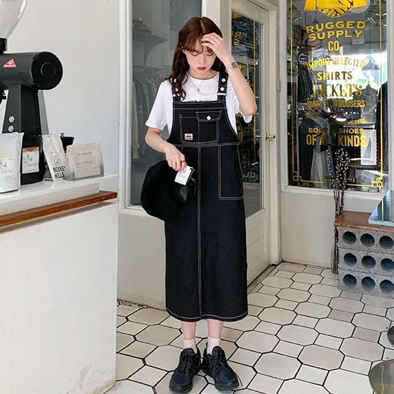 新款牛仔背带裙女ins夏复古连衣裙子长款过膝学生学院风日系可爱