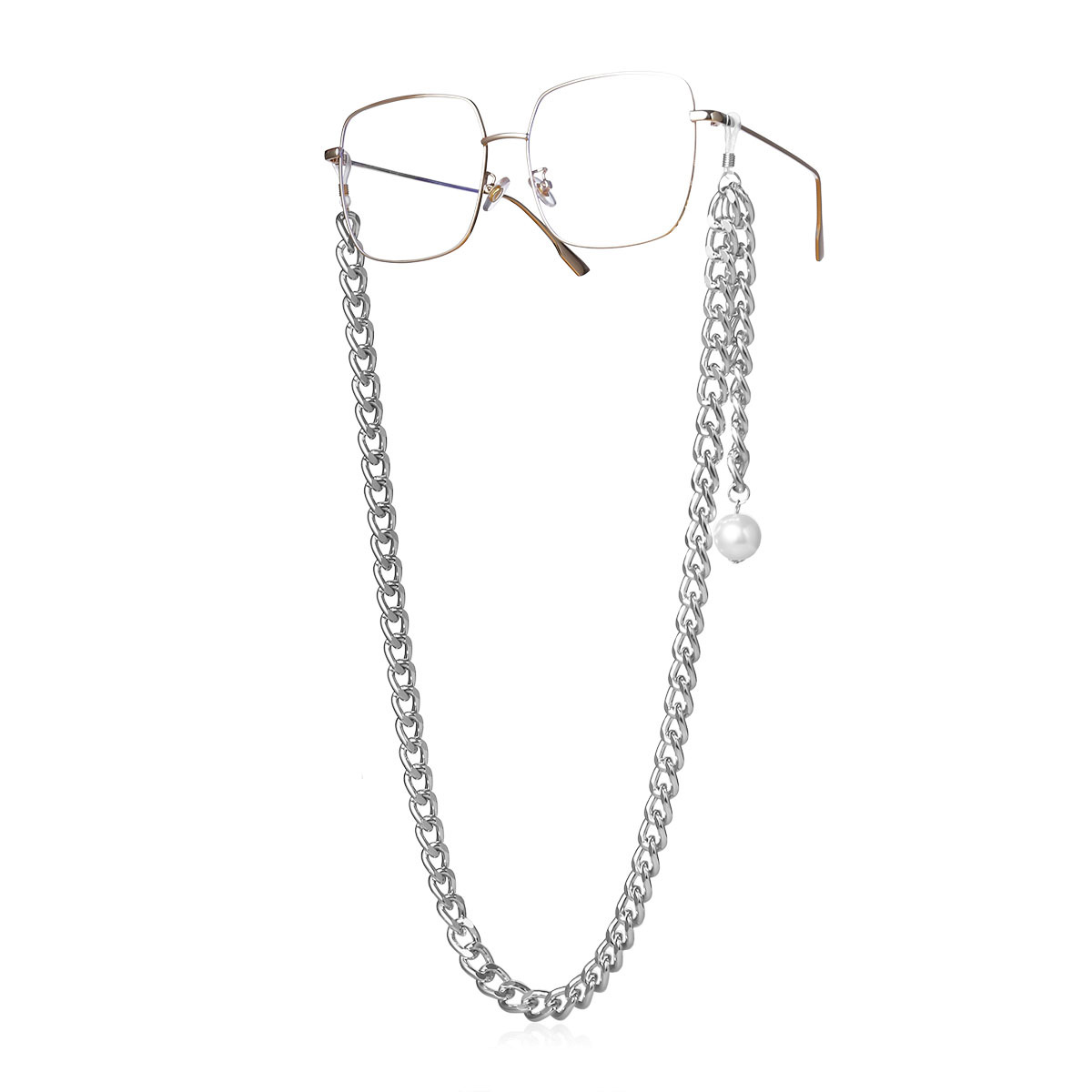 Fashion jewelry thick chain accessories imitation pearl tassel pendant geometric glasses chain wholesale Nihaojewelry NHXR211850