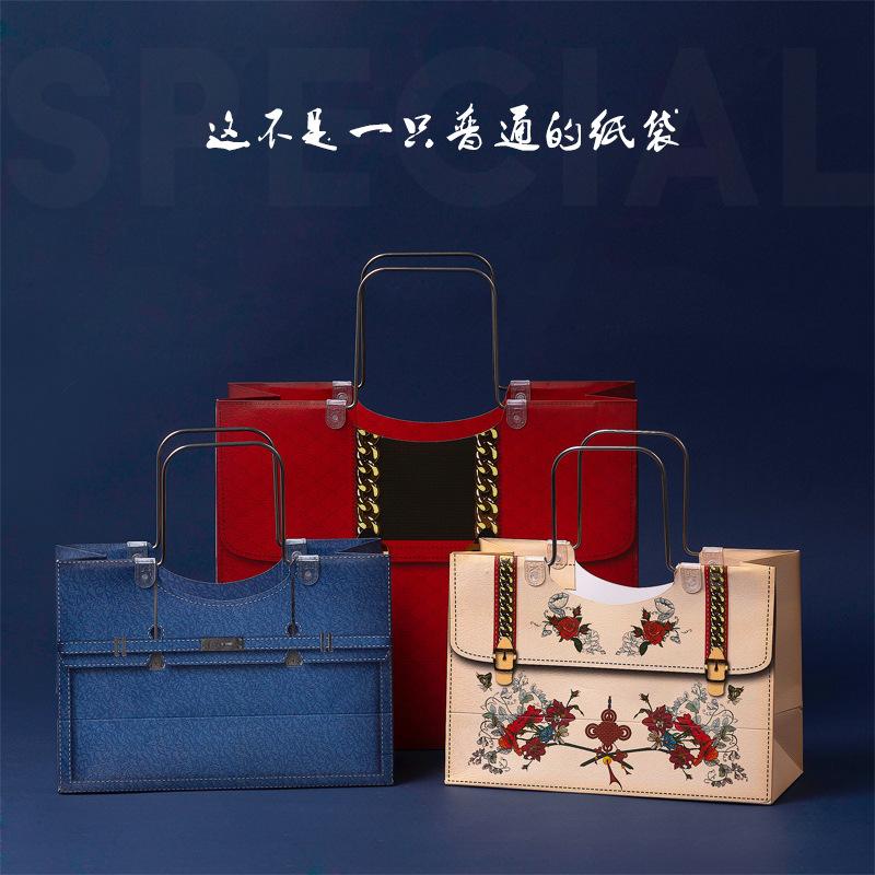 铜版纸礼品袋定做婚礼红色手提包加厚纸袋服装店纸袋子现货印logo