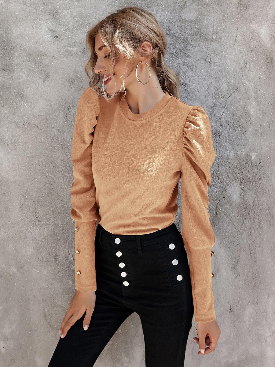 autumn elegant polyester pullover long sleeve round neck slim-fit women's T-shirt NSAL1962