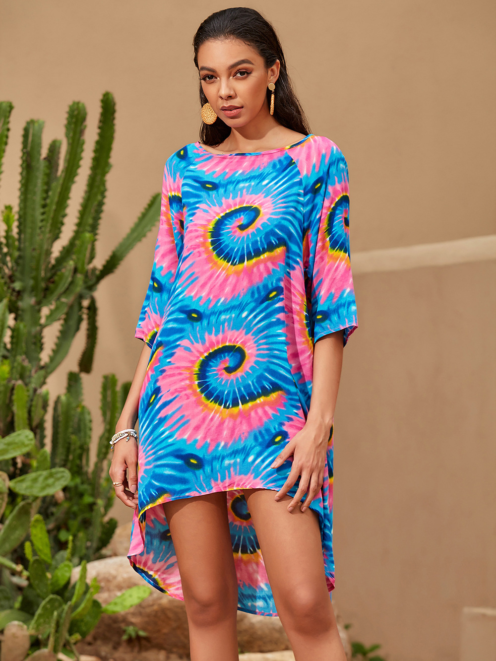 autumn new fashion casual digital printing round neck middle sleeve five-point sleeve T-shirt jumpsuit NSDF1293