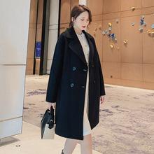 反季清仓2020春夏新款韩版休闲呢子大衣女中长款修身过膝毛呢外套
