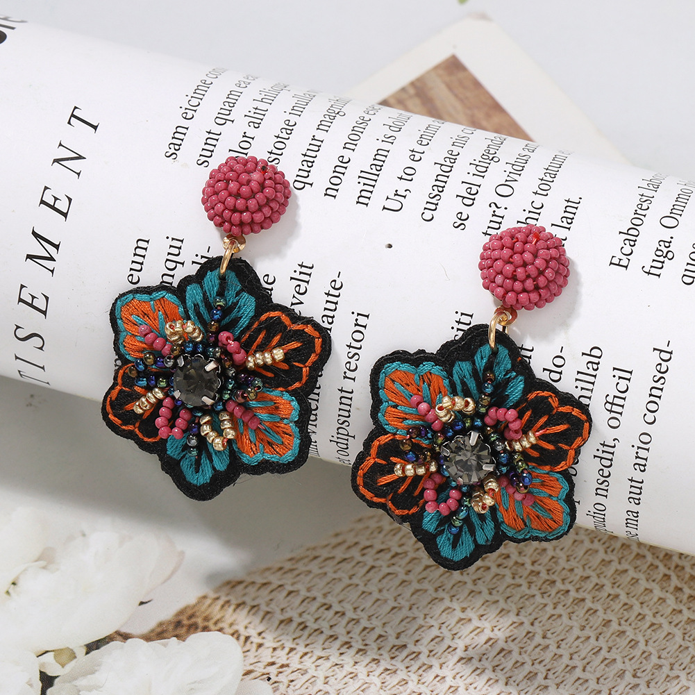 popular embroidery fabric handmade rice bead earrings retro flowers creative star wild catwalk earrings wholesale nihaojewelry NHJQ220029