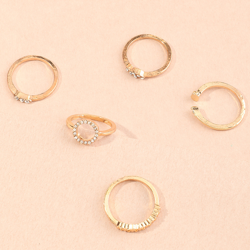 geometric micro-inlaid ring 5-piece set creative joint ring wholesale NHNZ254424
