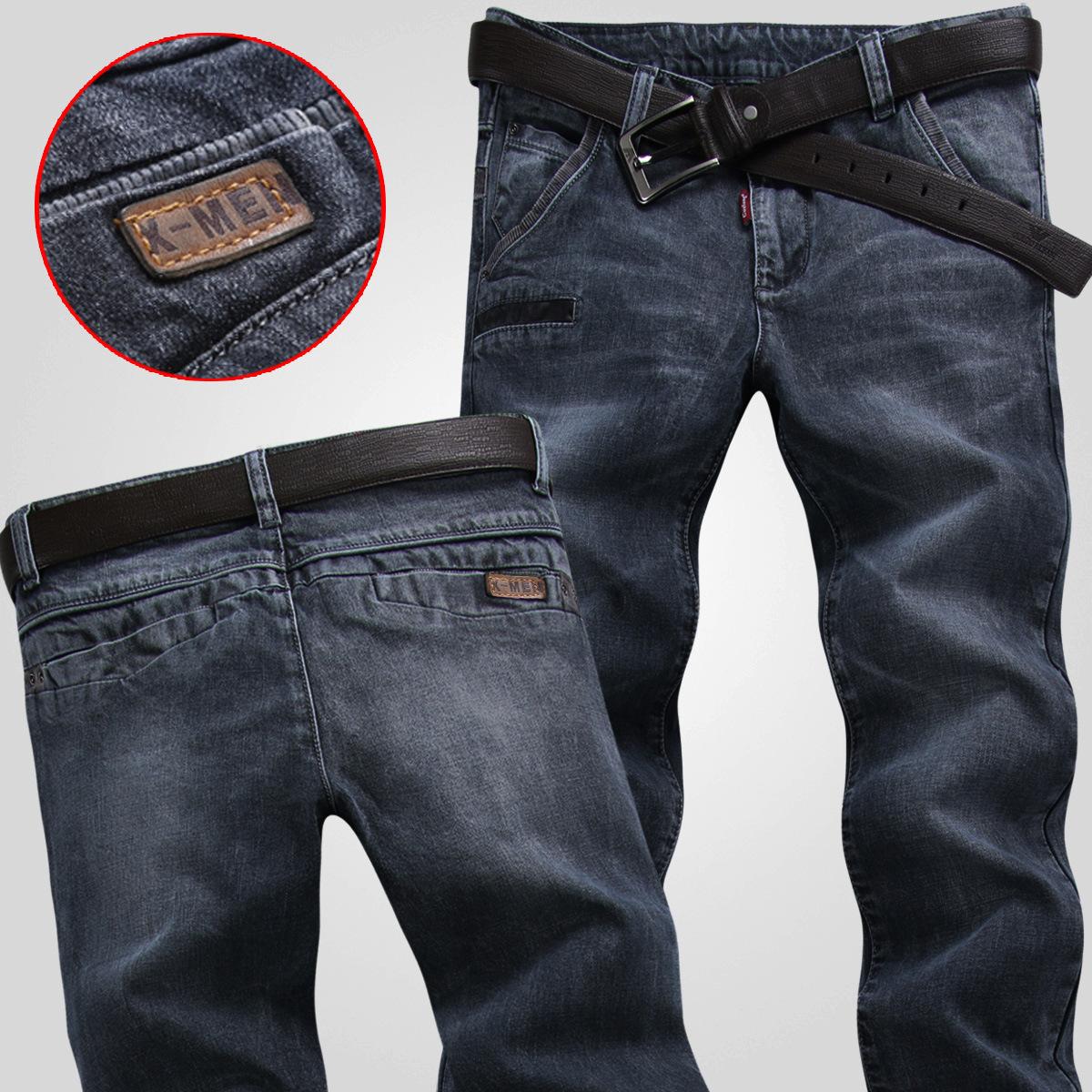 夏季薄款黑灰色牛仔裤男韩版修身中低腰弹力复古小脚长裤子潮