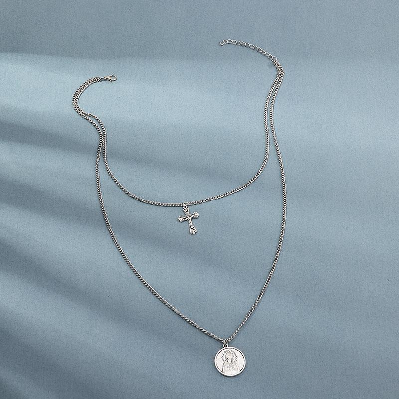 Fashion doublelayer cross chain alloy portrait pattern pendant multilayer necklace for women NHNZ248012