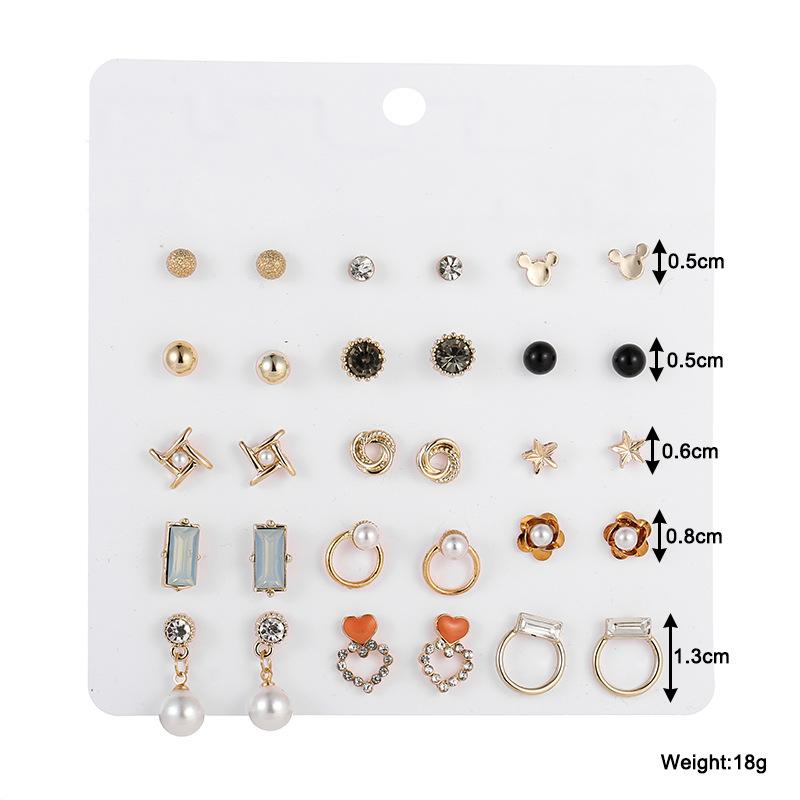 Korean stud earrings set new earrings temperament fashion earrings retro combination earrings  wholesale nihaojewelry NHSD221399