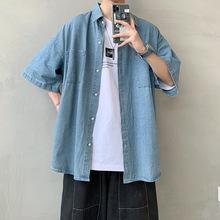 男士夏季短袖衬衫日系工装潮牌男装五分袖上衣百搭牛仔半袖衬衣男