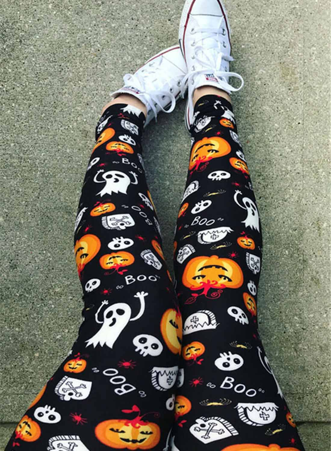 Halloween new leggings women skull print street style tight leggings  NSSI2802