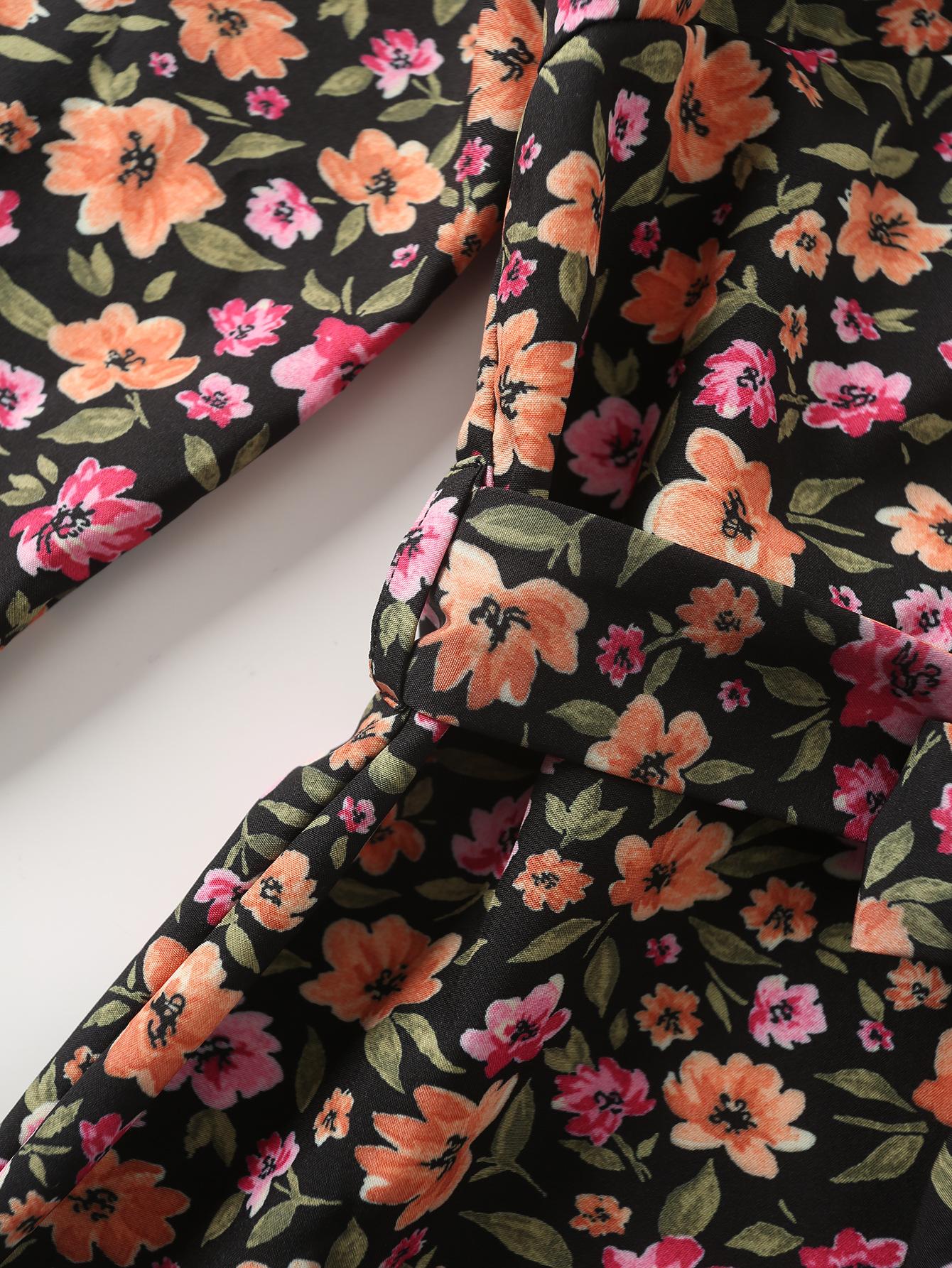 floral print long-sleeved dress   NSAM2284